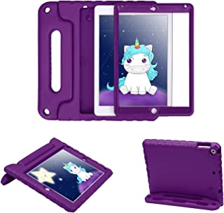 HDE Case for iPad Air 2 - Kids Shockproof Bumper Hard Cover Handle Stand with Built in Screen Protector for Apple iPad Air 2 - 2014 Release 2nd Generation (Purple)