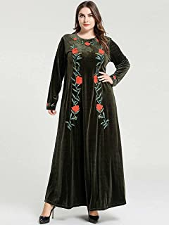 Large size women's elegant fashion plant embroidered long-sleeved Muslim casual big pair of gold velvet dresses (Color : G...