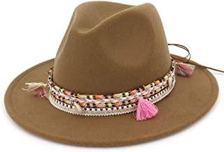 Fashion Hats, Caps,Elegant Hats, Natural Caps Fashion Mens Womens Fedora Hat with Tassel Ribbon Party Hat for Adult Panama Jazz Hat (Color : Coffee, Size : 56-58)