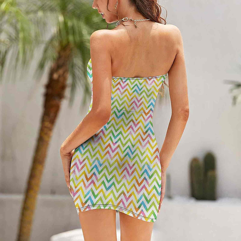 Women's Sleeveless Sexy Tube Top Dress Chevron Zigzag Ombre Dresses