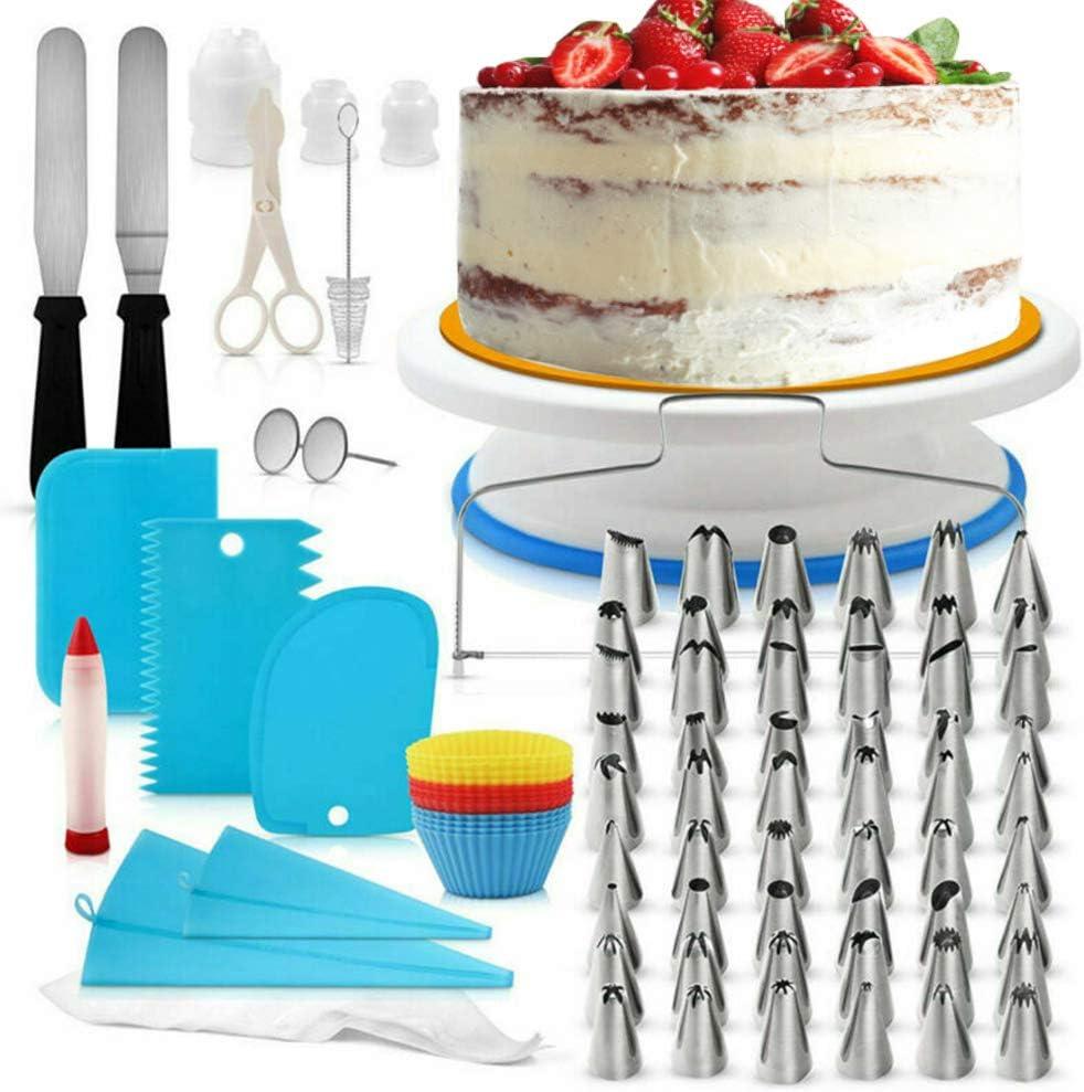 ديكل جديد 106 قطع لوازم تزيين الكعك عدة أدوات خبز الفوندانت مجموعة أدوات القرص الدوار حقيبة الطرف القلم ملعقة قص diy كعكة كعكة تزيين الحلويات مجموعة