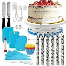 106Pcs Cake Decorating Supplies Kit Baking Fondant Tool Set Turntable Piping Bag Tip Pen Spatula DIY Cake Cupcake Decorati...