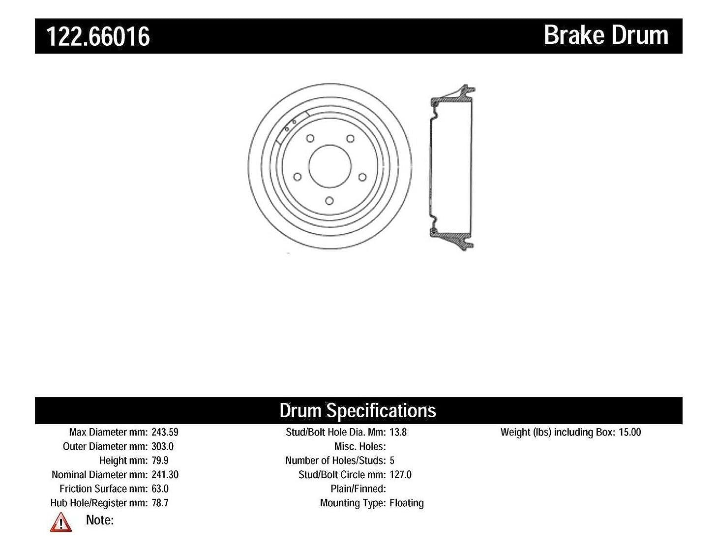 Centric Parts 122.66016 Brake Drum