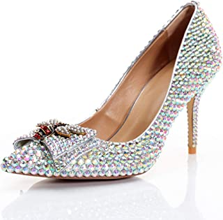 Women's High Heels Wedding Shoes, Closed-Toe Heels 8.5 cm High with Rhinestone Pointed High-Heeled Shoes with Bee Bows Non-Slip and Comfortable for Wedding Banquets