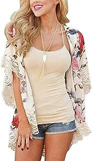 Womens Kimono Cardigans Floral Print Chiffon Beach Cover...