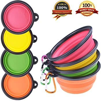 PetBonus 4-Pack Silicone Collapsible Dog Bowls, BPA Free and Dishwasher Safe, Portable and Foldable Travel Bowls-with 4-Color Carabiners Per Set