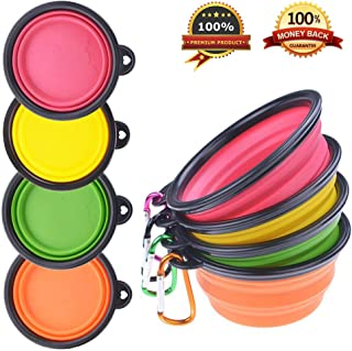 PetBonus 4-Pack Silicone Collapsible Dog Bowls, BPA Free and Dishwasher Safe, Portable..