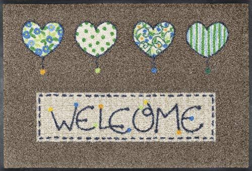 wash+dry Fußmatte Welcome Hearts, 50x75 cm, innen und außen, waschbar, braun