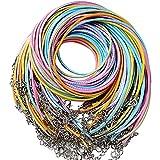 60pcs Cordón Collar Cadena Encerado Cordel 6 Colores 2mm Cuerda Waxed con Cierre Corchete Langosta para Joyería Collar Pulsera Manualidades DIY