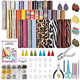 Caydo 36 Pieces Leather Earring Making Kit with Templates, Instructions, 9 Kinds Faux Leather Sheet, and Complete Tools for Earrings Making Supplies, 6.3 '' x 8.3 ''