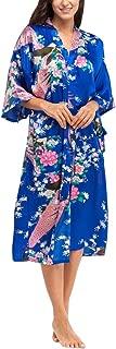 Wiwsi Bride Long Women Kimono Nightwear Robe Satin Night Dressing Gown Dressing