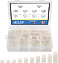 Glarks 150Pcs OD 11mm ID 6.2mm Plastic Round Spacer for M3 Screws, Length 3mm to 25mm Round Straight Tube, Plastic ABS Standoff