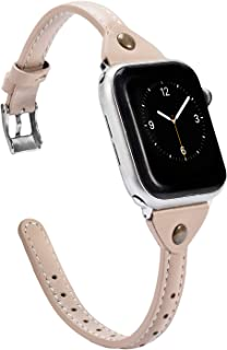 Wearlizer Beige Leather Compatible with Apple Watch Band 38mm 40mm for iWatch Womens Mens Strap Slim Wristband Leisure Exclusive Rivet Bracelet (Metal Silver Buckle) Series 5 4 3 2 1 Edition Sports