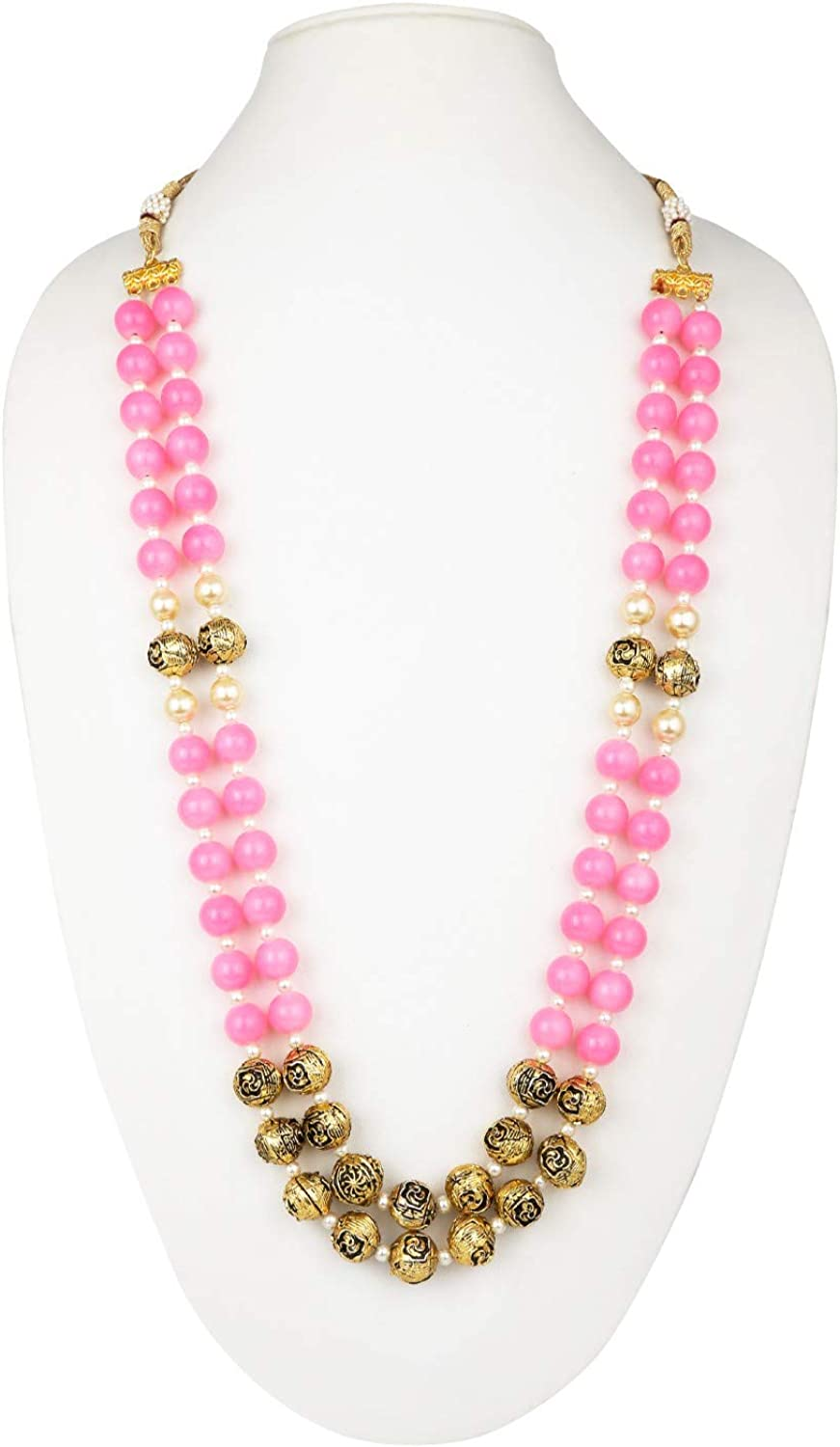 Efulgenz Indian Bollywood Antique Multi Layered Faux Pearl Beaded Bridal Wedding Strand Statement Necklace Jewelry (Color Options)