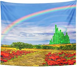 Emvency Tapestry Fields Musical The Yellow Brick Road Leading Into Emerald City in Land of Oz Poppy Rainbow Home Decor Wall Hanging for Living Room Bedroom Dorm 60x80 Inches