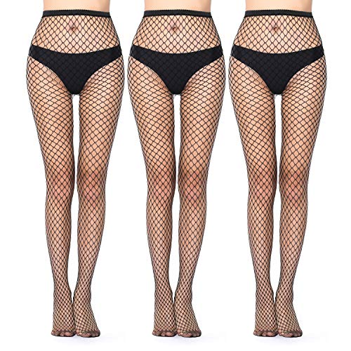 High Waist Tights Fishnet Stockings Thigh High Pantyhose for Women Sexy Fishnet Leggings Stockings Black (Black-large-3p, One size)
