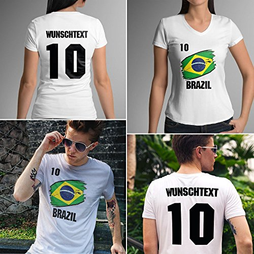 Brazil   Brazilien   Männer oder Frauen Trikot T - Shirt mit Wunsch Nummer + Wunsch Name   WM 2018 T-Shirt