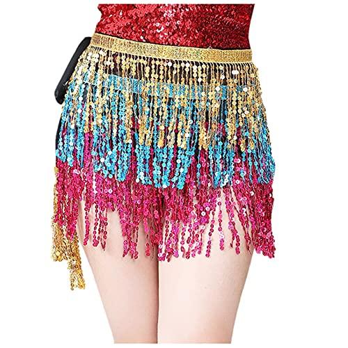 TUDUZ Falda de Lentejuelas con Borla para Danza del Vientre de Moda para Mujer, Disfraz de Club de Playa Falda de Lentejuelas para Danza del Vientre de Flecos Brillantes(A Oro,talla nica)