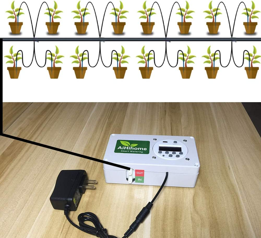 16pcs Drip Heads Automatic Watering System for Indoor Plant Garden Flower by Timer Irrigation Controller Watering