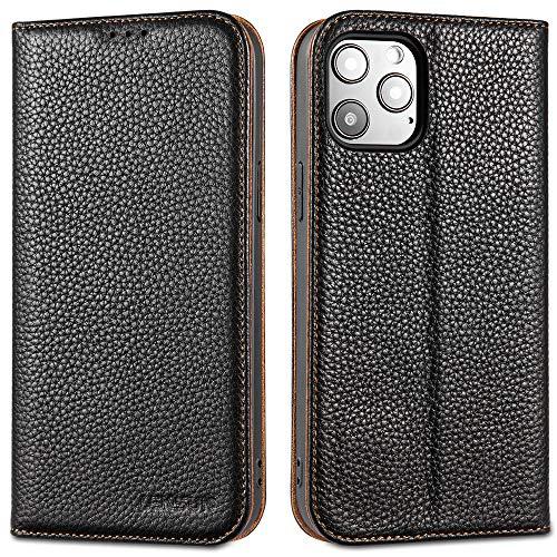 LENSUN Echtleder Hülle für iPhone 12 Pro Max Leder Handyhülle mit Magnetverschluss Kartenfach Handytasche kompatibel mit iPhone 12 Pro Max(6,7 Zoll) – Schwarz(12PM-DC-BK)