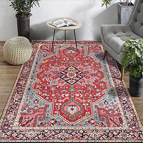 Fancytan Alfombra de Salón Vintage Clásico Oriental Floral Diseño, fácil de Limpiar, Alfombras para Sala, Comedór, Dormitorio, Rojo, 150 x 200cm