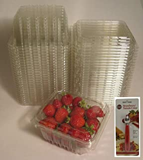 Plastic Clamshell Containers for Berries, Cherry Tomatoes, and Other Small Produce (Pack of 25), with Bonus Strawberry/Tomato Corer