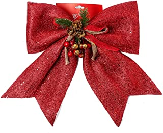 FLASH WORLD Christmas Wreath Bow Set Great for Christmas Tree,Garland 4 Pieces, Large Gifts, Parties and More - Indoor or Outdoor Christmas Decorations (RED, 12W14L)