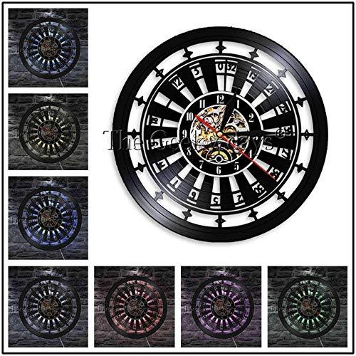 Zhuhuimin 1 stuk ruimte logo roulette lay-out tafel moderne wandklok poker roulette spel geluidsplaat wandklok wandklok 12x12inch Met led-licht.