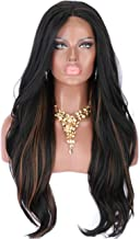 Kalyss 26 Inches Women's Body Wavy Black Wigs with Highlights Premium Yaki Futura Synthetic Hand Tited Ear to Ear Soft Lace Front Wigs for Women Natural Looking Lace Middle Parting Hairline Daily Wear