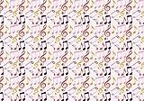 Tela de algodón egipcio de 48 cm x 55 cm, diseño de notas musicales, color rosa y multicolor, material de costura ajustado