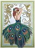 Diamond Painting 5D Pintura DIY Diamond Cross Stitch Kit Bordado Diamante Set Año completo Año Adulto Diamante Diamond Art-Peacock femenino 40 * 50cm