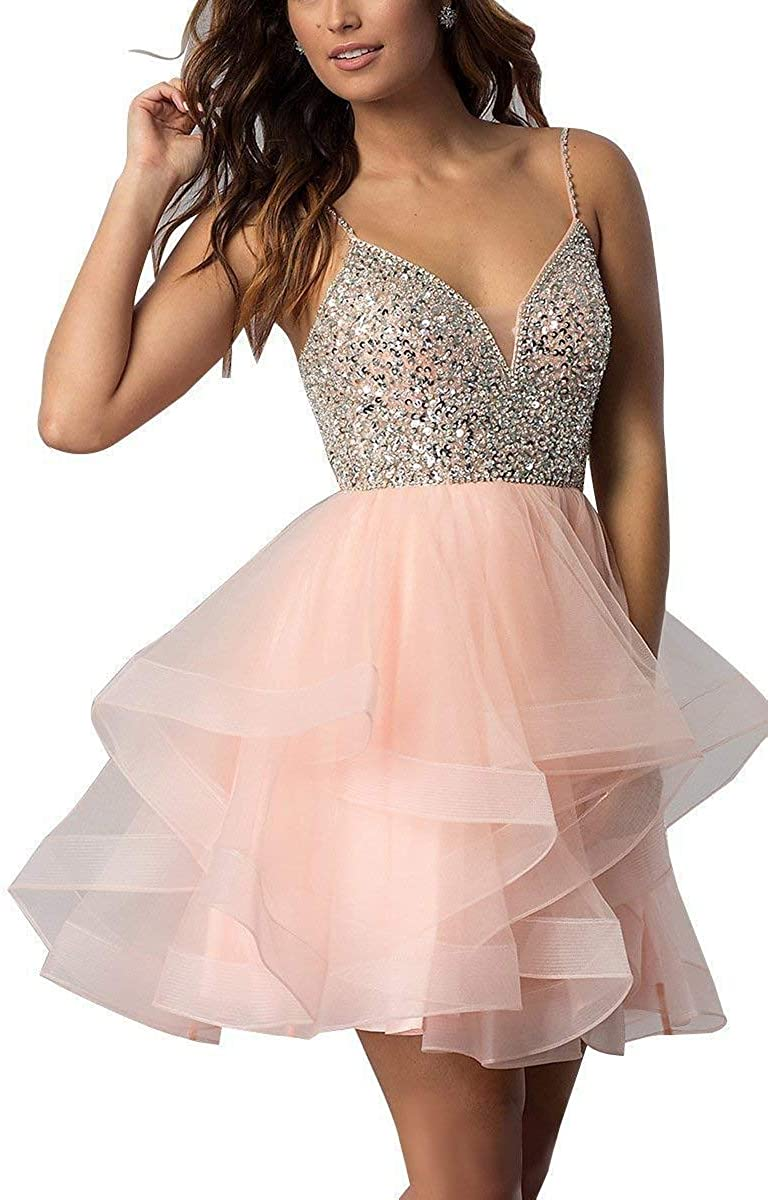 XingMeng Women's Tulle Mini Prom Cocktail Party Dress