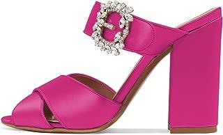 Women Peep Toe Chunky High Heels Slide Sandals Satin Mules Pumps with Rhinestones Buckle