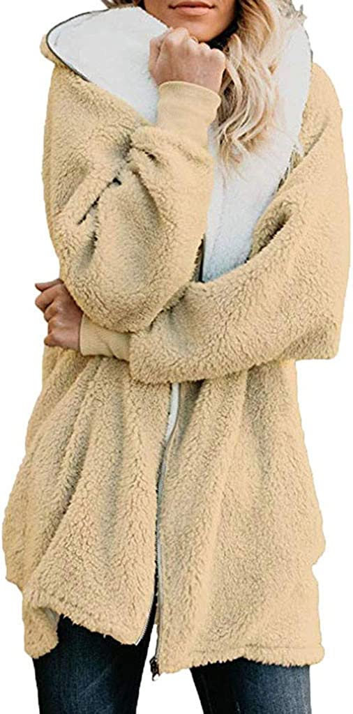 Leewa Plush Coat Long Winter Thermal Limited time cheap sale Color Solid Co Be super welcome Hooded Parka