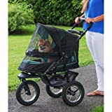 Pet Gear No-Zip NV Pet Stroller for Cats/Dogs, Zipperless Entry, Easy One-Hand Fold, Air Tires, Plush Pad + Weather Cover Included, Optional Divider, Sky Line, No-Zip NV Pet Stroller Only