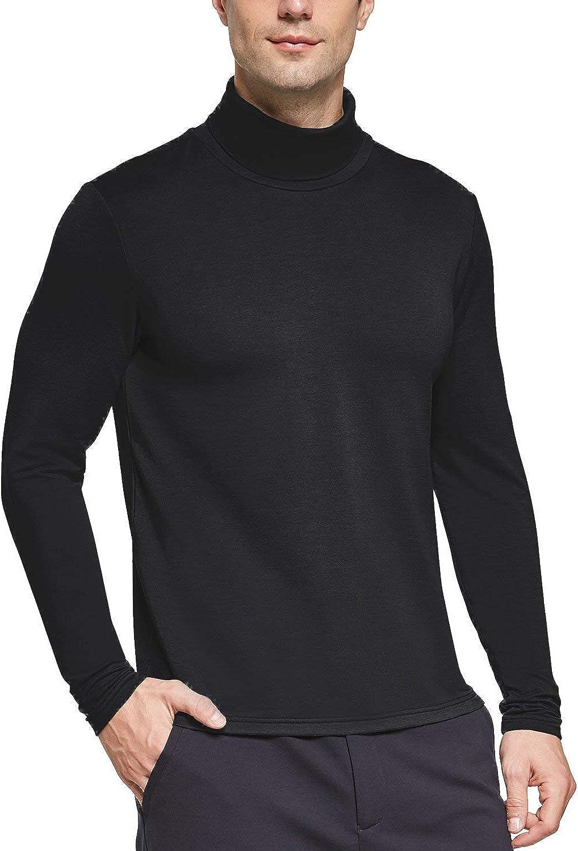 BALEAF Men's Turtleneck Thermal Shirts Long Sleeve Slim Fit Stre