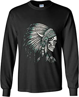 Indian Headdress Skull Long Sleeve T-Shirt Native American Tribe Black XL