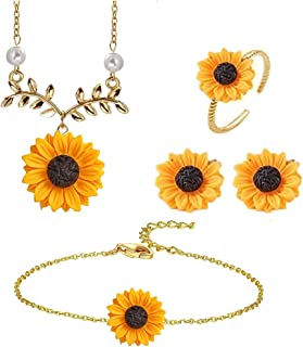 5pc/Set Sunflower Pendant Jewelry Set for Women - Including Necklace, Bracelet, Earrings and Ring