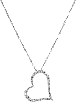 Tiny Treasures 18K White Gold Slanted Open Heart Necklace