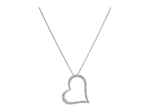 Roberto Coin Tiny Treasures 18K White Gold Slanted Open Heart Necklace