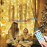 LECLSTAR Cortina de Luces LED USB,3m*3m 300 LED 8 Modos de Luz con Control Remoto y 4 Modo de Música,IP67 Impermeable,Cadena de Luces Decoración de Casa, Fiestas, Bodas, Jardin, Arbol de Navidad, etc