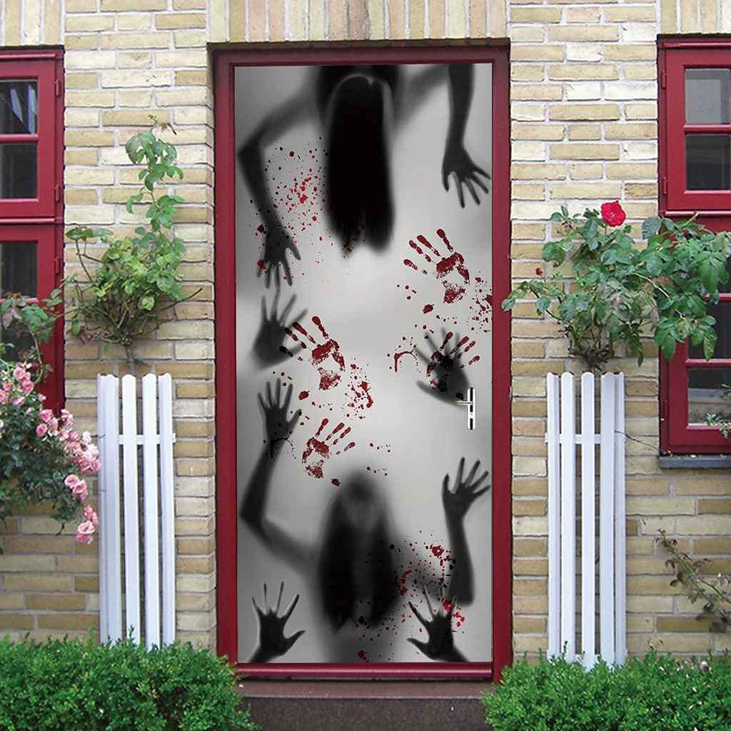 BARFPY 3D Door Stickers Halloween Poster Genuine Free Shipping Horror High material W Handprint
