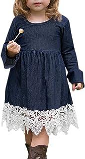 Toddler Baby Girl Clothes Long Sleeve Dress Ruffle Denim Skirt Lace Hem Princess Party Skirt Outfits Set