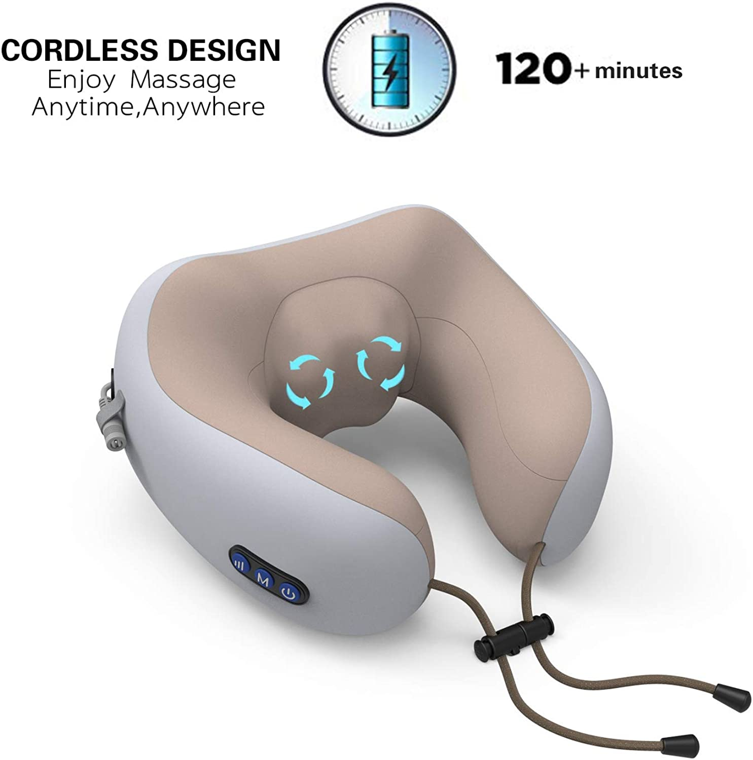 Cordless Neck greenebra Massage Electric Travel Pillow with Heat - Deep Tissue 3D Kneading Pillow, U-Shaped Memory Foam Electric Neck Massage Relieve Muscle Pain - Office, Home,Airplane& Car