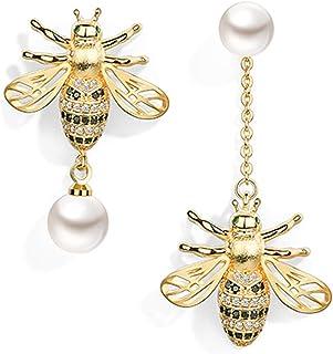 Asymmetrical Bee Earring, Dangle Pearl Earring,14k Gold Plated Brass Cubic Zirconia, Jewelry For Women