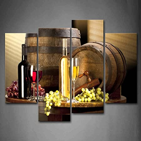 Amazon Com Various Wine With Grape Wall Art For Kitchen Painting Pictures Print On Canvas Food The Picture Home Modern Decoration Posters Prints