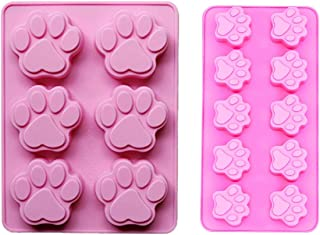 2 PACK Combo Mini & large Silicone DOG Pet Animal Paw Print Ice Cube Chocolate Soap Candle Tray Mold Party maker (Ships From USA)