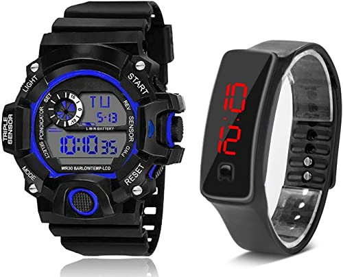 Digital Black Dial Silicone led Boys Kids Watch Combo Pack of 2 Watches