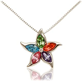 Women's White Gold Plated 5 Point Multicolor Star with European Crystals, 18