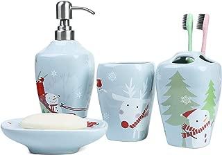 FORLONG FL3018 Ceramic Bathroom Accessories Set of 4:1 Tumbler,1 Toothbrush Holders,1 Soap Dishes,1 Soap Dispenser(Christmas Snowman)